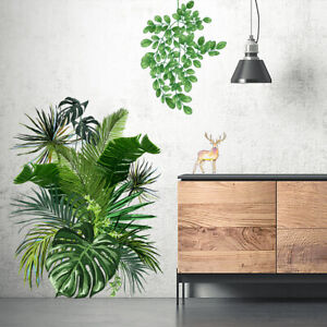 Green Plants Leaves Stickers Wall Decals Tropical Leaf Home Art Decor