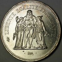 1977 50 Francs Hercules Brilliant Uncirculated Large Silver Commemorative Coin