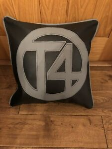 """Pair 17"""" Faux Leather  T4 Grey & Black Cushions + Inners All Colours Available"""