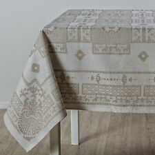 Linen tablecloth 59.05 x 78.74in for kitchen. 100% Linen. Jacquard double