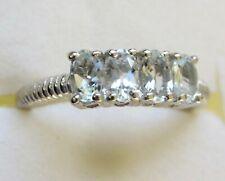 Espirito Santo Aquamarine Four-Stone Ring /  size 6 / 925 Sterling Silver
