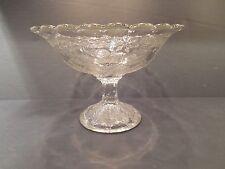 Vintage Clear & Textured Flower Embossed Glass Pedestal Bowl Dish