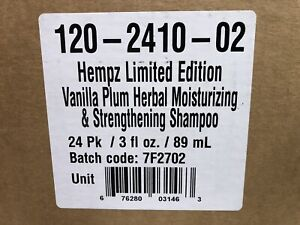 Wholesale box 24 ct Hempz Vanilla Plum Herbal Moisturizing Shampoo 3oz New