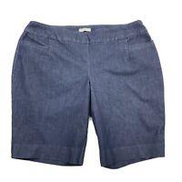 Cato Womens CLASSIC Plus Size Denim Like Bermuda Shorts Size 20W Blue Stretch