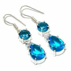 """Swiss Blue Topaz Gemstone Handmade 925 Sterling Silver Jewelry Earring 1.77 """""""