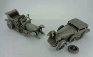 Vintage Danbury Mint Pewter Cars -  Rolls Royce Silver Ghost & Bentley Barnato