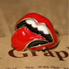 Rock and Roll sexy tongue red lips ring with a crystal