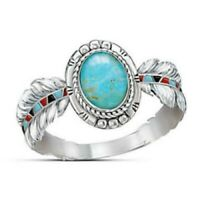 Vintage Women 925 Silver Turquoise Feather Wedding Ring Jewelry Gift Size5-10