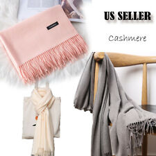 Mens Womens Oversize Solid Scarf 100% Cashmere Scotland Wool Blanket Shawl Wrap