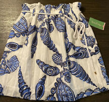 NEW Lilly Pulitzer Avery Skirt Blue White Seashell W/rope Belt Size XS MSRP $118