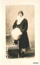 C-1910 Woman Big White Fuzzy Muff Wicker RPPC Real photo postcard 1235