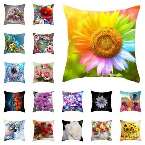 Floral Cushion Cover Colorful Flower Pillow Case Throw Pillow Cover Decor 18''