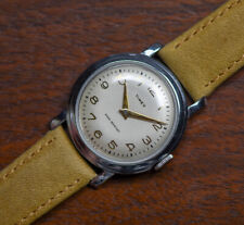 Vintage Early TIMEX Made In USA Manual Wind Step Case Men's Watch Leather Band