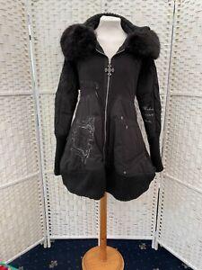 Elisa Cavaletti Designer Black warm Quilted lined Jacket RRP £589 Size 10-12