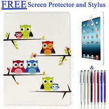 For iPad Air 2 Case Owl Design 360 Degree Rotating Stand Cover Tablet Animal