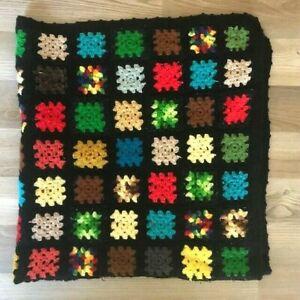 "Afghan Crochet Granny Square 60"" x 60"""" Blanket  Throw Lap Quilt Black"