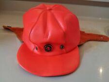 Vintage 1950-60s Hat Cap Ski Patrol Orange Leather USA Made