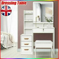Modern Dressing Table Stool Bedroom Vanity Set Makeup Desk W/ Mirror & 4 Drawers