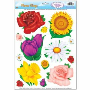 Flower Window Clings 14 per Sheet Summer Spring Floral Party Decoration