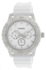 Fossil Silver Dial White Rubber Strap Multifunction Men's Watch BQ16231004 43mm