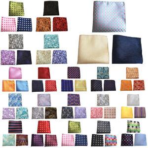 3 Packs Men Stripe Flower Paisley Pocket Square Handkerchief Wedding Hanky