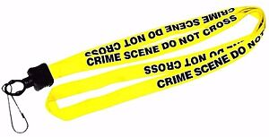 CRIME SCENE - DO NOT CROSS Lanyard, neck strap,key holder. Law Enforcement strap