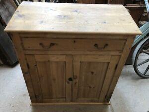 "Pine vintage slope top cupboard or sideboard with drawer 40""x18""x36"""