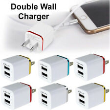 USB Double Wall Fast Charger Adapter 1A 2A 5V For iPhone 6 7 8 11 Plus X XS XR