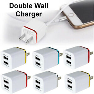 USB Double Wall Fast Charger Adapter 1A 2A 5V For iPhone 6 7 8 11 12 Plus X XR