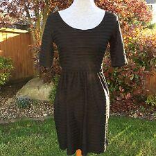 Gap Fit Flare Skater Dress Black Stripe NWT New Trendy Wide Scoop Neck Sz XS
