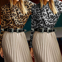 UK Ladies Leopard Print Tops Long Sleeve Bow-tie Office Shirt Blouse Womens 8-26