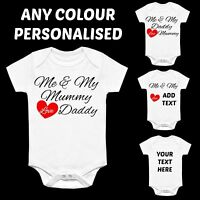 ME & MY MUMMY LOVE DADDY PERSONALISED CUSTOM BABY GROW VEST HEART AUNTIE NANNY V