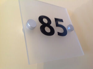 HOUSE / HOTEL SIGN / ROOM NUMBER - QUALITY FROSTED ACRYLIC + ALUMINIUM FITTINGS