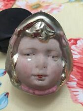 "Antique Vintage Dutch Girl Face Glass German Figural Christmas Ornament - 3"""