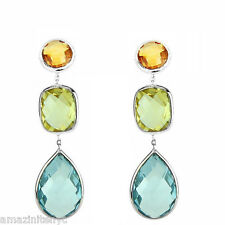 14K White Gold Gemstone Earrings Lemon Topaz, Citrine And Blue topaz