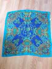 Blue Paisley Ornate Silky Scarf Square