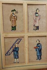 Antico cinese dipinto ad acquerello su carta di riso collage di 4 Miniatures
