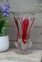 Bohemia Czech ruby red crystal glass cut Vase