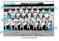 OLD LARGE PHOTO CANBERRA RAIDERS RUGBY TEAM 1987
