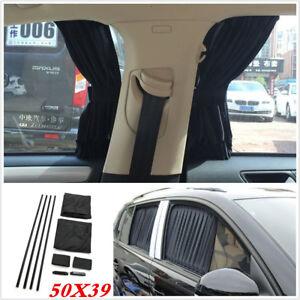 Black Pair 50cmX39 Car Side Window Sunshades Curtain UV Sunshade Visor Curtain