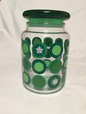 Anchor Hocking Snowflake Green Lid Glass Storage Candy Jar Christmas Canister