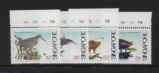 1984 Singapore: Coastal birds SG467-470 Top Margin Cylinder examples MNH