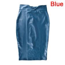 Women Soft PU Leather Skirt High Waist Slim Hip Pencil Skirts Mini Skirtkev Black XXXL