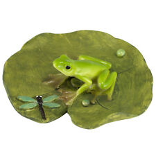 """Miniature Mini Frog On Lily Pad With Dragonfly Figurine 2.75"""" Long New In Box!"""