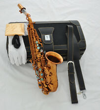 TOP Coffee color Bb Soprano Curved Sax saxophone Abalone shell keys with case