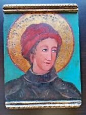 Original Art Icon Barcelona Spain Religious Painting Carved Wood Gilt /Gold Leaf