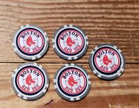 (5)BOSTON RED SOX CASINO CHIPS.  11.5G CHIP GREAT BALL MARKER FOR GOLF