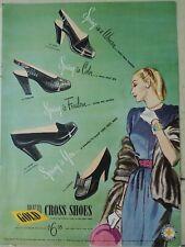 1946 women's Red Cross black shoes vintage fashion art ad