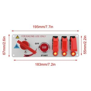 Ignition Switch 12V Race Car Ignition Switch Panel Engine Start LED Pushbutton
