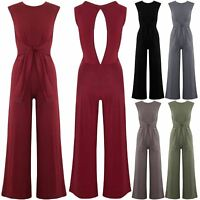 Womens Keyhole Cut Back Playsuit Ladies Polo Neck Sleeveless Tie Knot Jumpsuit